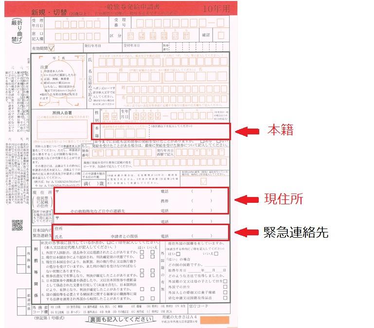 一般旅券発給申請書の注意箇所